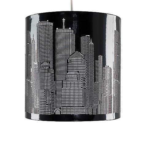 MiniSun - Moderna pantalla de lámpara de techo colgante inspirada en el paisaje de Nueva York, en color negro brillante