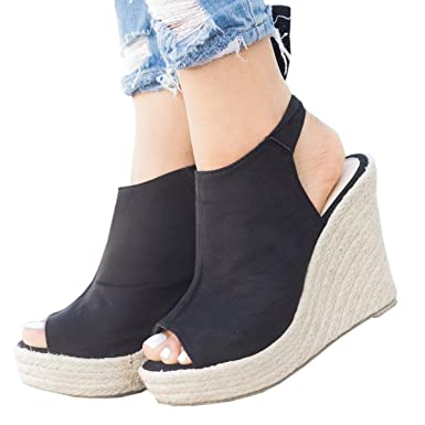 559eb93dd86e Wedges Sandals For Womens Espadrille Platform Peep Toe Ankle Strap Mid Heel  Suede Back Lace Up