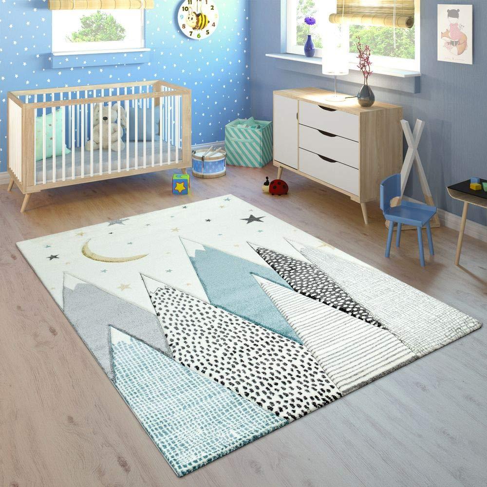 Paco Home Kinderteppich Kinderzimmer Berg Motiv Mond Sterne In Pastell Blau Grau, Grösse:160x230 cm