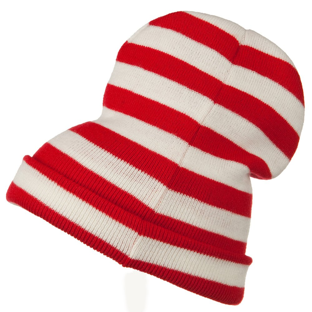 68c9591e7267c Red White Wide Stripe Cuff Beanie - Red White OSFM at Amazon Men s Clothing  store  Costume Headwear And Hats