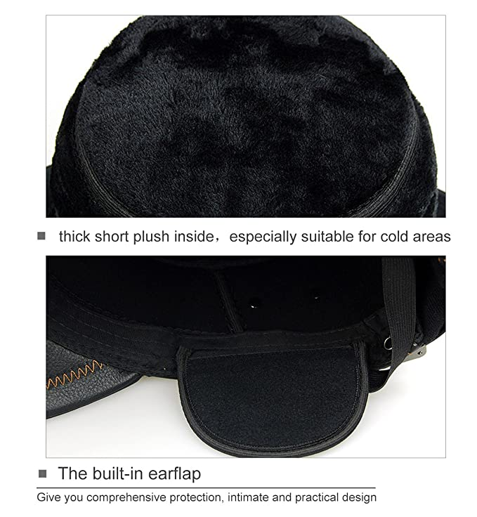 7a56f350 SUMOLUX Winter Leather Cap with Earflap Military Cadet Army style Hats Flat  Top Hat Adjustable for Outdoor Winter at Amazon Men's Clothing store: