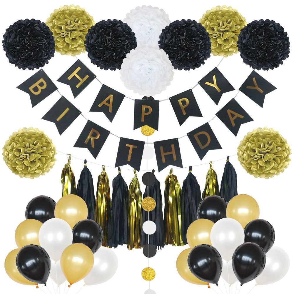85 Pieces Birthday Party Decoration Set in Gold and Black- includes Happy Birthday Banner, 20 Party Balloons, 10 Paper Pom Poms, 10 Tassels and 32 Round Paper Garland Perfect For Any Birthday Party by Lily & Peony
