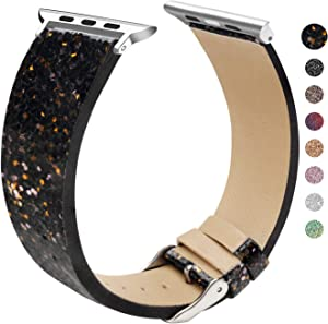 EurCross Watch Band Compatible with Apple Watch 38mm 40mm Shiny Strap Replacement Wristband for Women Glitter Bands Compatible with iWatch Series 5/4/3/2/1 (Black Gold 38mm/40mm)