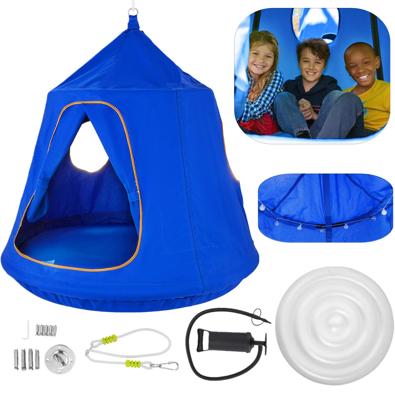 OrangeA Hanging Tree Tent Blue Hanging Tree Tent for Kids 46 H x 43.4 Diam Hanging Tree House Tent Waterproof Portable Indoor or Outdoor Use with Led Decoration Lights