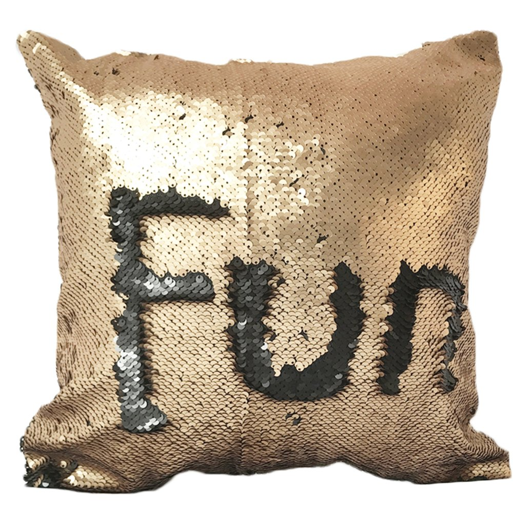 Sleepwish Two Tones Reversible Sequin Mermaid Pillow Cases Glitter Cushion Cover Sparkling Throw Pillow Case (Black and Silver) Youhao SCC801256137