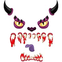Hohomark Halloween Monster Face Decorations Halloween Garage Door Decorations Stickers with Horns Eyes Nose Fangs Tongue for Halloween Outdoor Decoration Props Supplies