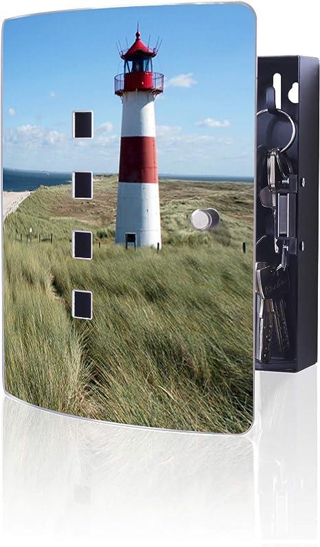 Banjado Design Schlüsselkasten Aus Edelstahl 10 Haken Für Schlüssel Praktischer Magnetverschluss 24x21 5cm Motiv Leuchtturm Küche Haushalt