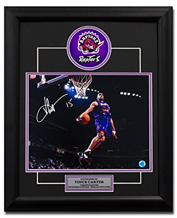 Vince Carter Toronto Raptors Autographed Dino Jersey Windmill Dunk 23x19  Frame 13dd44405
