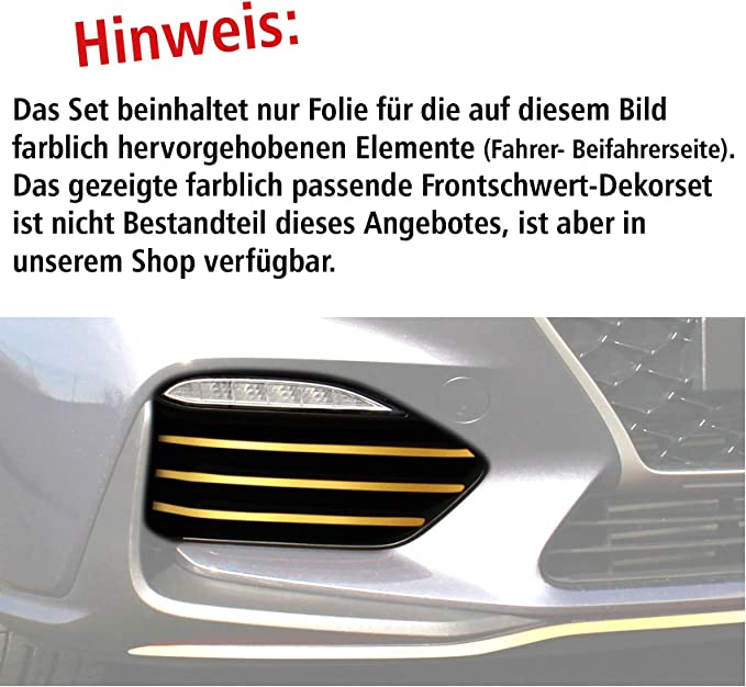 Finest Folia Folien Set Kühlergitter Designline Lufteinlass Rahmen Fahrzeug Front Dekor Aufkleber Passgenau Selbstklebend Auto Zubehör D010 Gold Auto