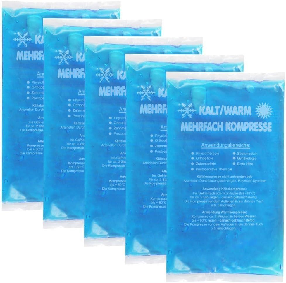 carmesin. com GmbH compresas de frío Caliente 5 Pack (=5 Unidades) compresa Cold Hot Pack 12 x 29 cm Azul, compresas de frío: Amazon.es: Electrónica