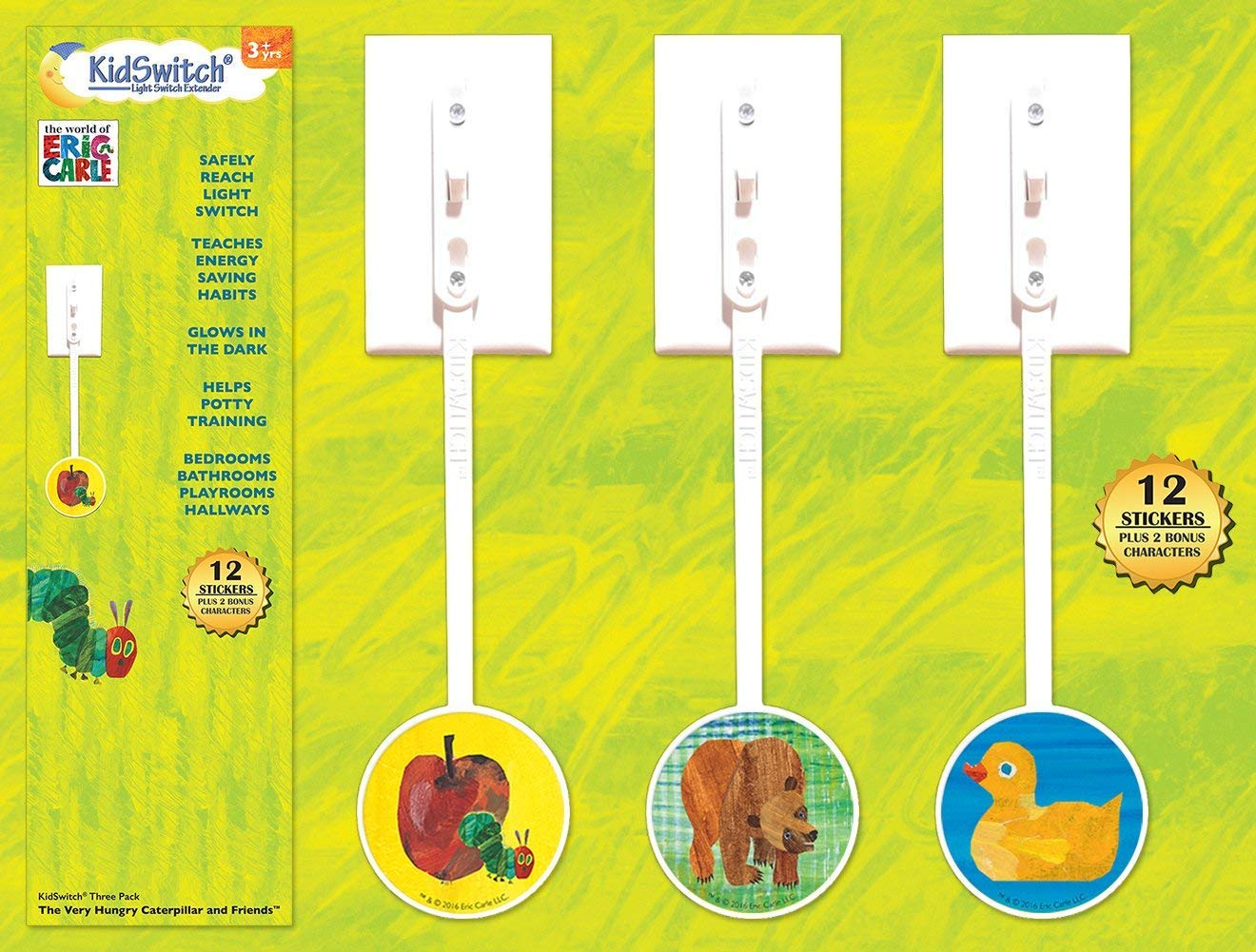 Amazon.com : KidSwitch Light Switch Extender 3 Pack   The World Of Eric  Carle Edition : Baby