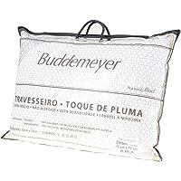 Travesseiro Buddemeyer Toque de Pluma Branco Avulso Cetim 233 Fios com Acabamento Especial