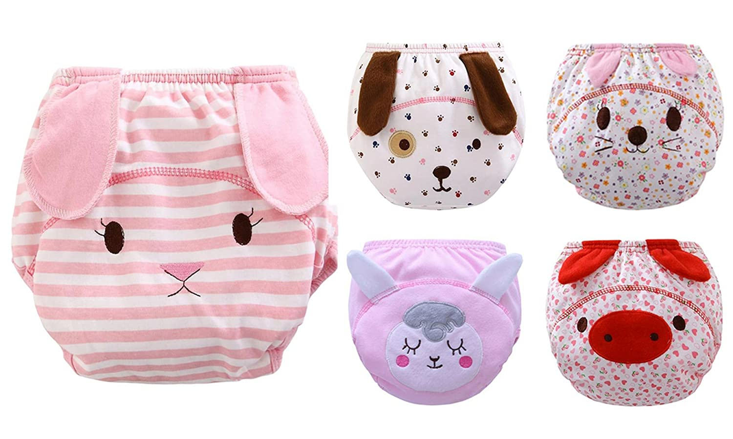 5 Pcs Baby Adorable Embroidery Pattern Training Pants Diaper Underwear for Toddler HANIBEIWA JWBK0466