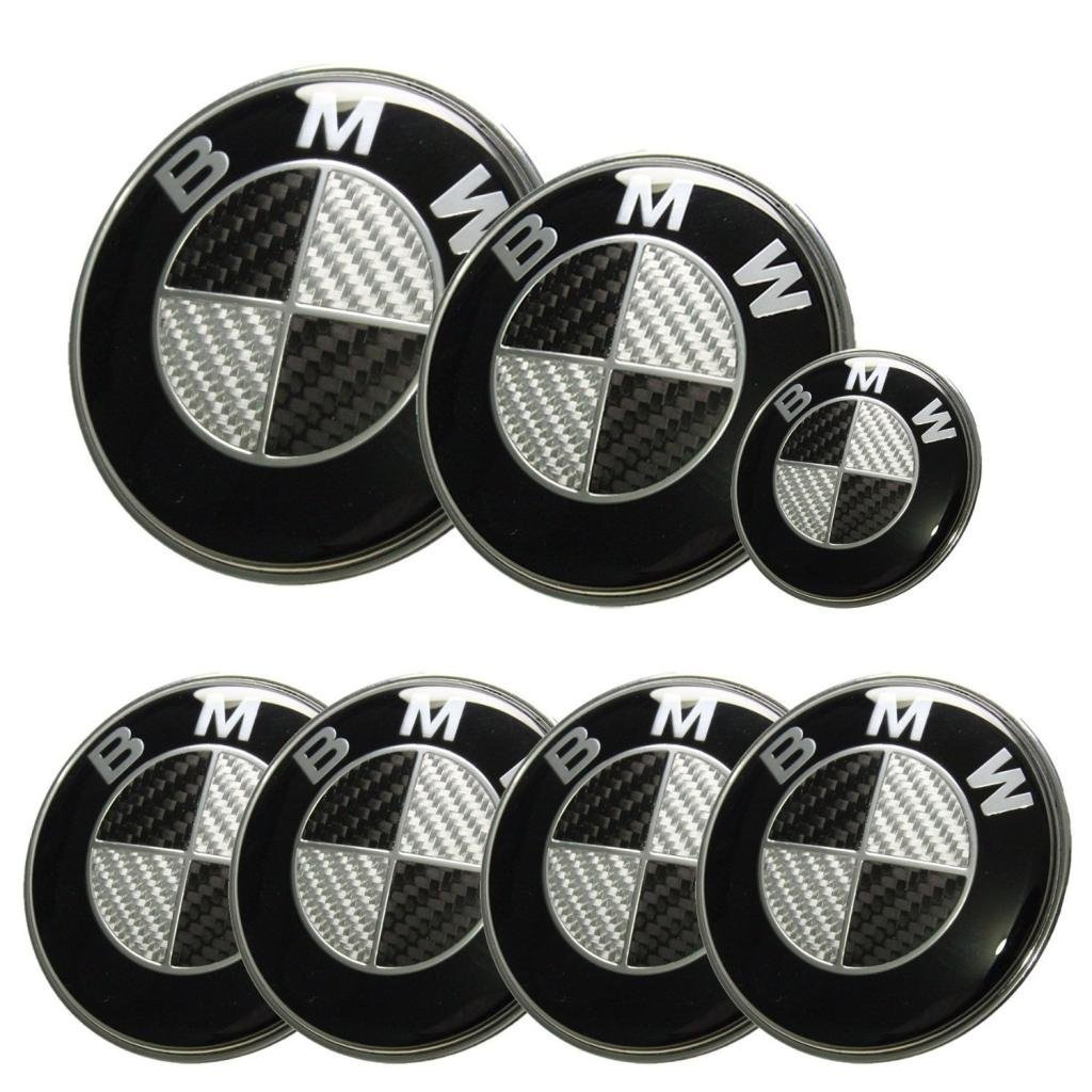 2 pack 82mm Black 82mm Logo Replacement Hood and Trunk Roundel Emblem Accessories Compatible with Most Models BMW E34 E36 E38 E60 E61 E65 E66 X3 X5 X6 5 7 Jerock Emblem for BMW