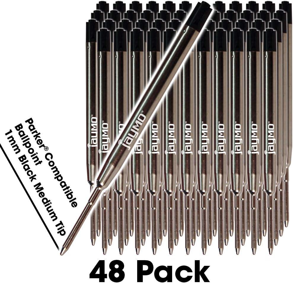 Black Parker 6 Jaymo Recharges de stylos à bille compatibles Parker® 6