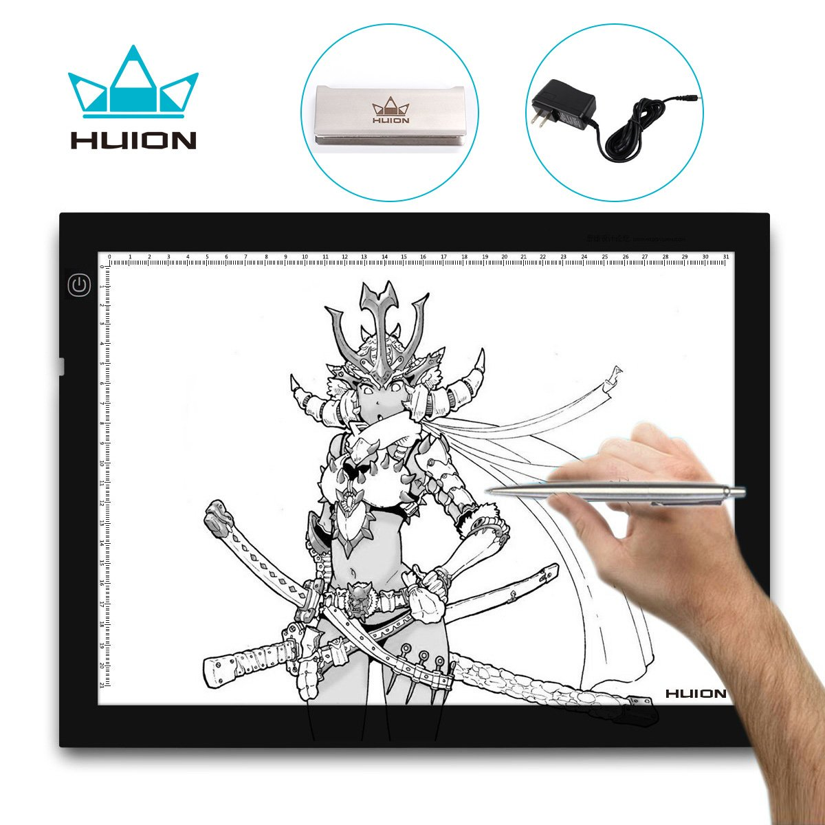 Huion A4 LED Light Pad Tracing Light Box Adjustable Brightness AC Powered - 14x10 Inch by Huion