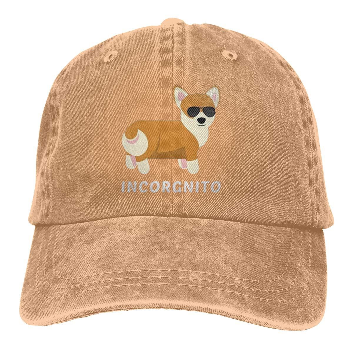 Funny Corgi Unisex Baseball Cap Cotton Denim Custom Personalized Adjustable Sun Hat for Men Women Youth