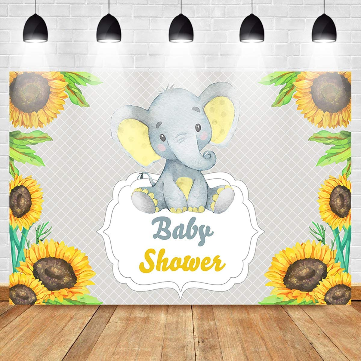 Mocsicka Elephant Baby Shower Backdrop Yellow Sunflower Watercolor Flowers Background 7X5ft Cute Yellow Elephant Baby Shower Party Banner Backdrops