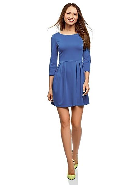 oodji Ultra Mujer Vestido de Punto Entallado, Azul, ES 34 / XXS