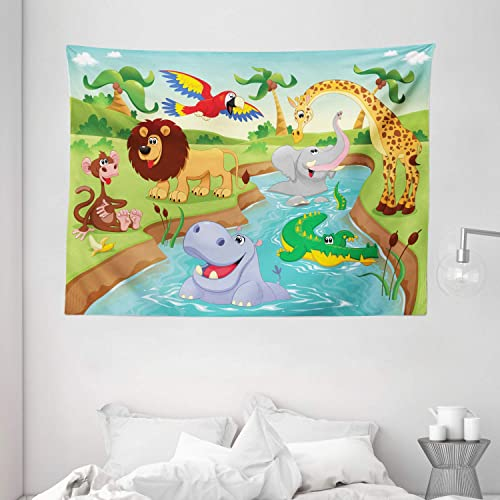 Ambesonne Children Tapestry, Cartoon Safari Animals Swimming in The Lake Elephant Lions and Giraffe Art, Wide Wall Hanging for Bedroom Living Room Dorm, 80 X 60 , Blue Green