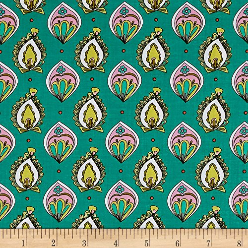 Ink & Arrow Paloma Foulard Dark Jade Fabric by The Yard - Ink & Arrow Fabrics 0529661