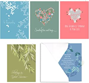 Heartfelt Sympathy Card Assortment Pack - Set of 25 cards - 5 of each design, versed inside with envelopes