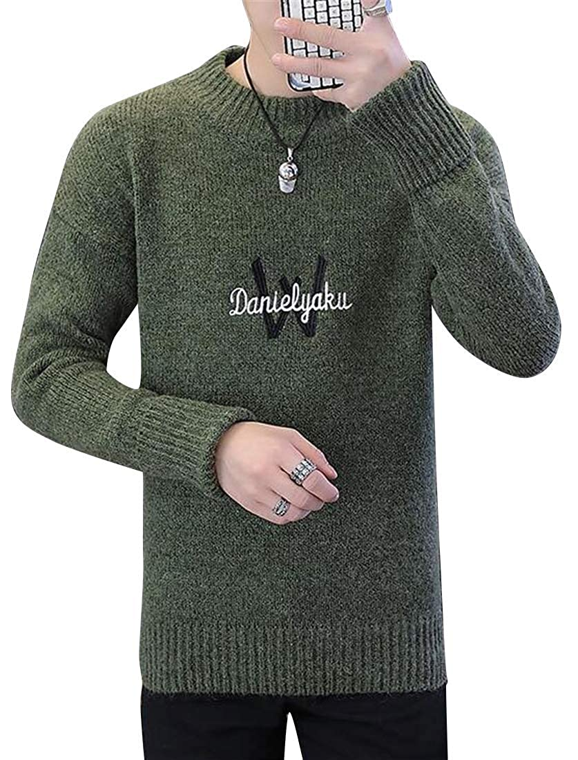 MK988 Mens Slim Fit Knit Letter Print Lightweight Round Neck Fall Winter Pullover Sweater Jumper