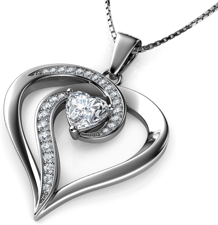 DEPHINI – Collar de corazón – Plata de ley 925 – Elegante colgante de corazón con cristales de circonia cúbica – Collar de joyería fina para mujer – Cadena de plata chapada en rodio