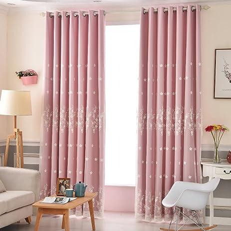 Amazon.com: Curtain Double Shade Simple Modern Bedroom Living room-D ...