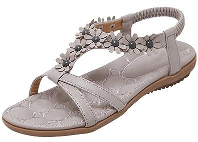 04667d341cb8 Bohemian Sandals for Women Summer Beach Sandals by Bigtree Sweet Flower  Flat Sandals Grey 4.5 B