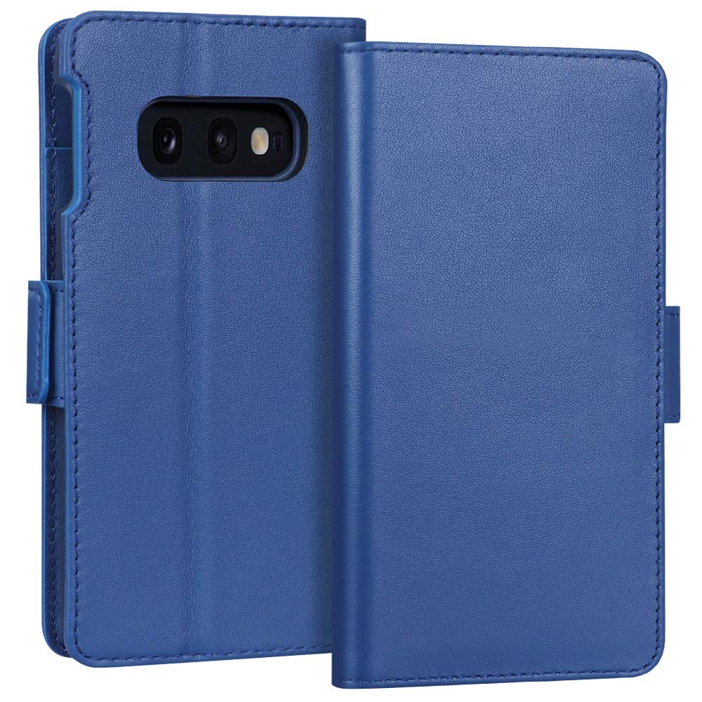 FYY Samsung Galaxy S10e 5.8'' Luxury [Cowhide Genuine Leather][RFID Blocking] Handcrafted Wallet Case, Handmade Flip Folio Case with [Kickstand Function] and [Card Slots] for Galaxy S10e (5.8'') Blue
