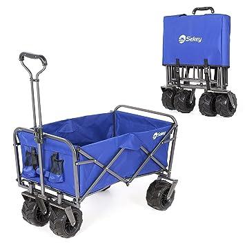Sekey Plegable Carretillas de Carrito Plegable (Mano Carro außenschubk Arre Folding Wagon Exterior jardín Colgante Carro Playa Apto para Todo Terreno, ...