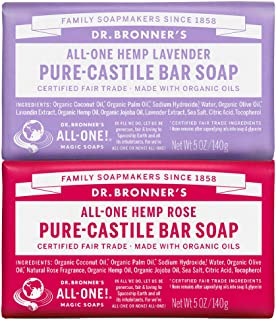 product image for Dr. Bronner's - Pure-Castile Bar Soap (2-Pack Bundle, Rose & Lavender) - Made with Organic Oils, For Face, Body and Hair, Gentle and Moisturizing, Biodegradable, Vegan, Cruelty-free, Non-GMO