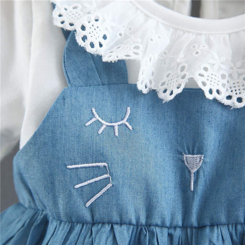 Girls Casual Dress Fartido Short Sleeve Dresses Stitching Denim Doll Collar Cat Print Princess Skirt