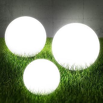 Lot de 3 boules lumineuses pour l\'extérieur Boule Set boules ...