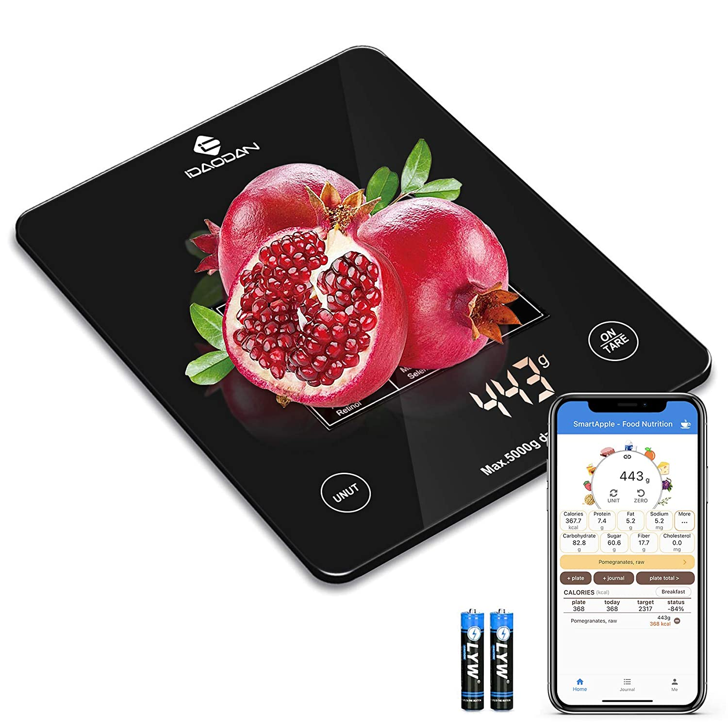 IDAODAN Digital Nutrition Smart Food Scale, Kitchen Scale, Nutrition Bluetooth Scale and Timer Multifunction Coffee Scale with Smartphone APP for Baking, Cooking Macro, Calorie,Weight Loss