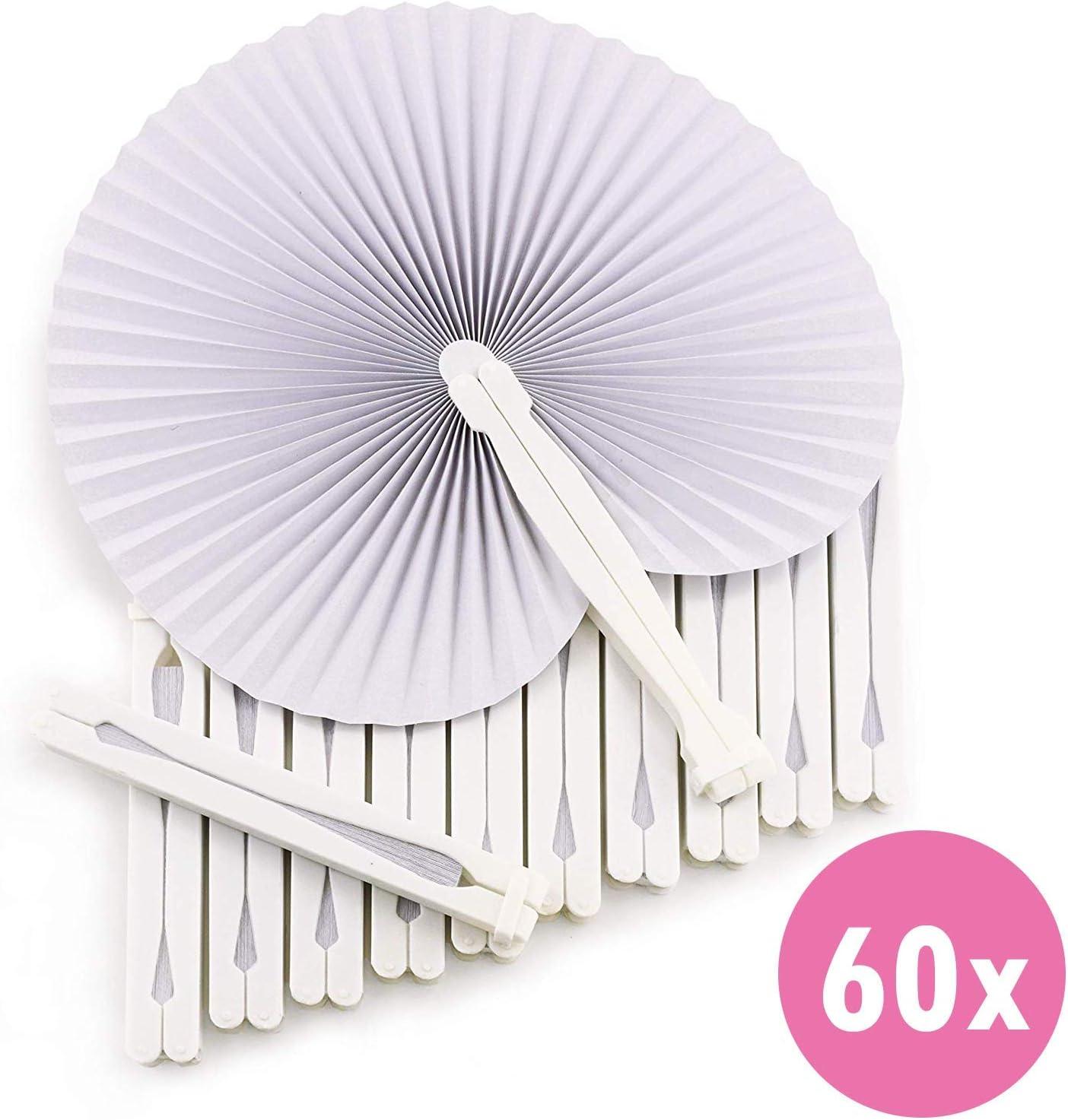 WeddingTree ® 60 x Abanicos de Bolsillo - Papel Blanco abatible - Paipai - Diversión en la decoración para los más Grandes y pequeños - Regalo para Invitados en Boda, Fiesta, Bailes de Flamenco.
