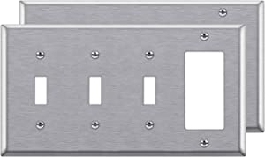 [2 Pack] BESTTEN 4-Gang Combination Metal Wall Plate, 3-Toggle/1-Decor, Standard Size, Anti-Corrosion Stainless Steel Outlet and Switch Cover, UL Listed, Silver