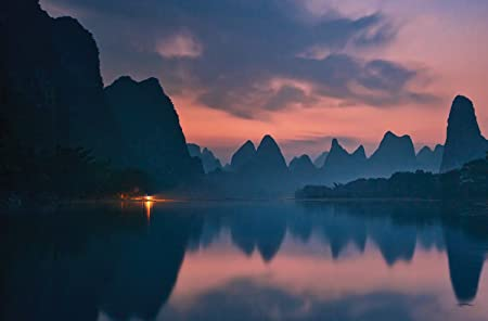 JP London Heavyweight Non Woven Art JPL and Yan Zhang Present The Dawn of Li River Mountain Zen Reflection Lake 36in x 24in Prepasted Fully Removable Wall Poster Mural SPMURLT1X47098