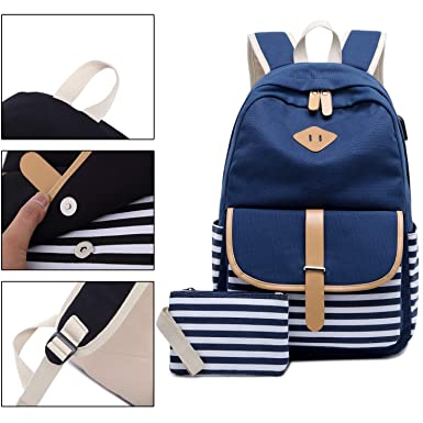 Amazon.com | Canvas Backpack School Bags for Girls College Laptop Backpack with USB Charging Port Student Rucksack Travel Casual Daypacks fits 15.6 inch ...
