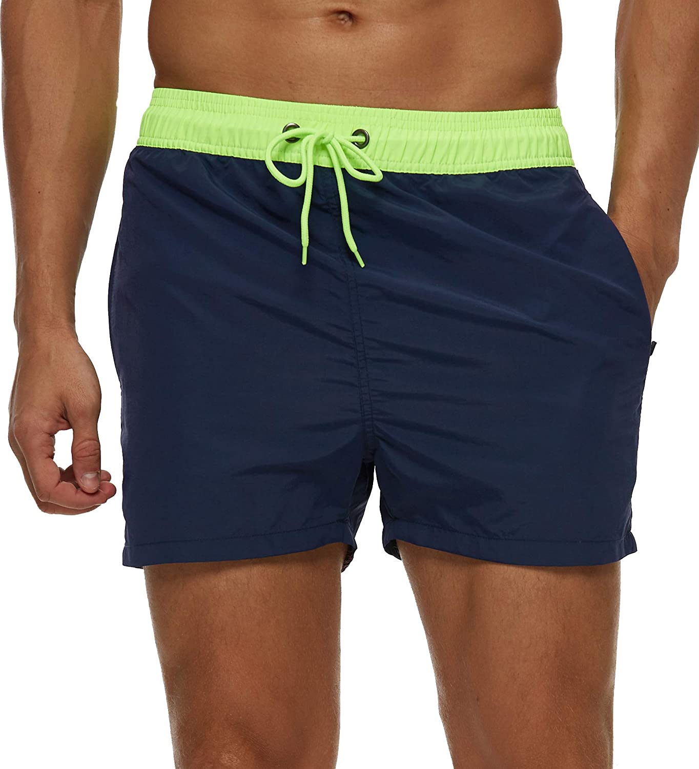 SILKWORLD Men's Slim Swim Shorts with Zipper Pockets Quick Dry Swimsuit Sports Swim Trunks