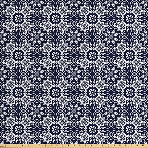 Ambesonne Navy Blue Fabric by the Yard, Japanese Inspired Curves Lace Arrangement Antique Asian Floral Composition, Decorative Fabric for Upholstery and Home Accents, Navy Blue White from Ambesonne