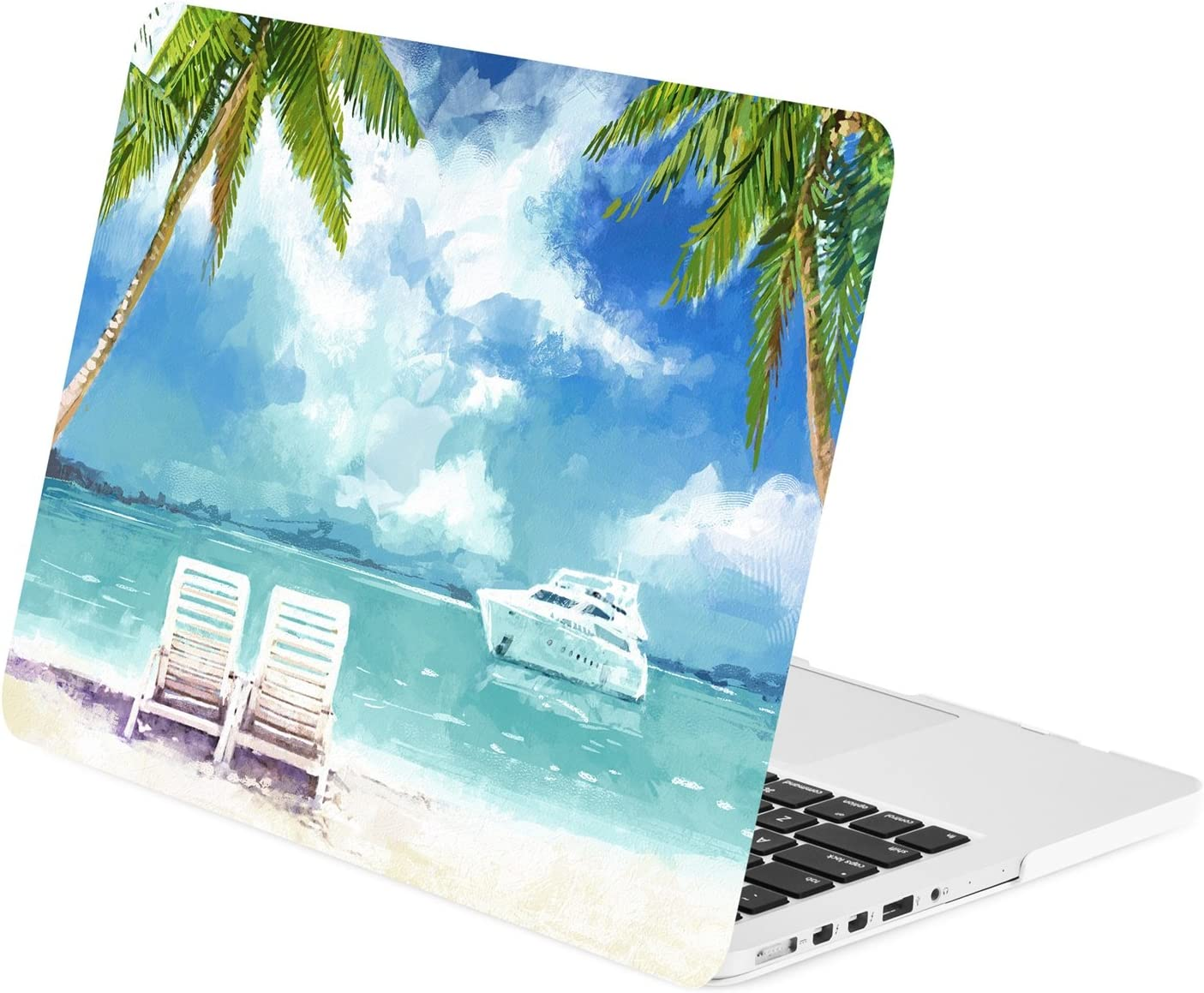 "TOP CASE - Graphics Rubberized Hard Case Compatible MacBook Pro 13"" with Retina Display (Release 2012-2015) Model: A1425 / A1502 – Beach Day"