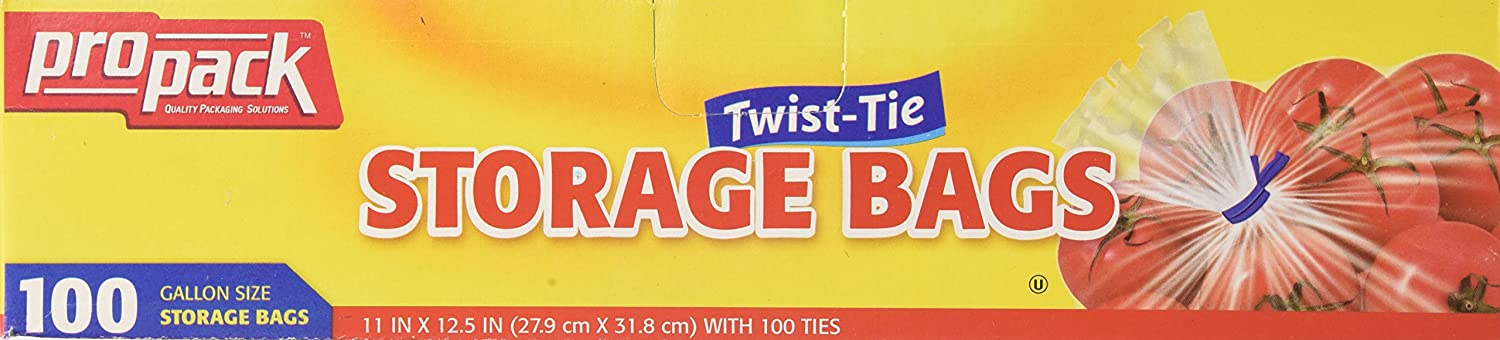 Pro Pack Twist Tie Gallon Storage Bags, 100 Count (Pack of 12)