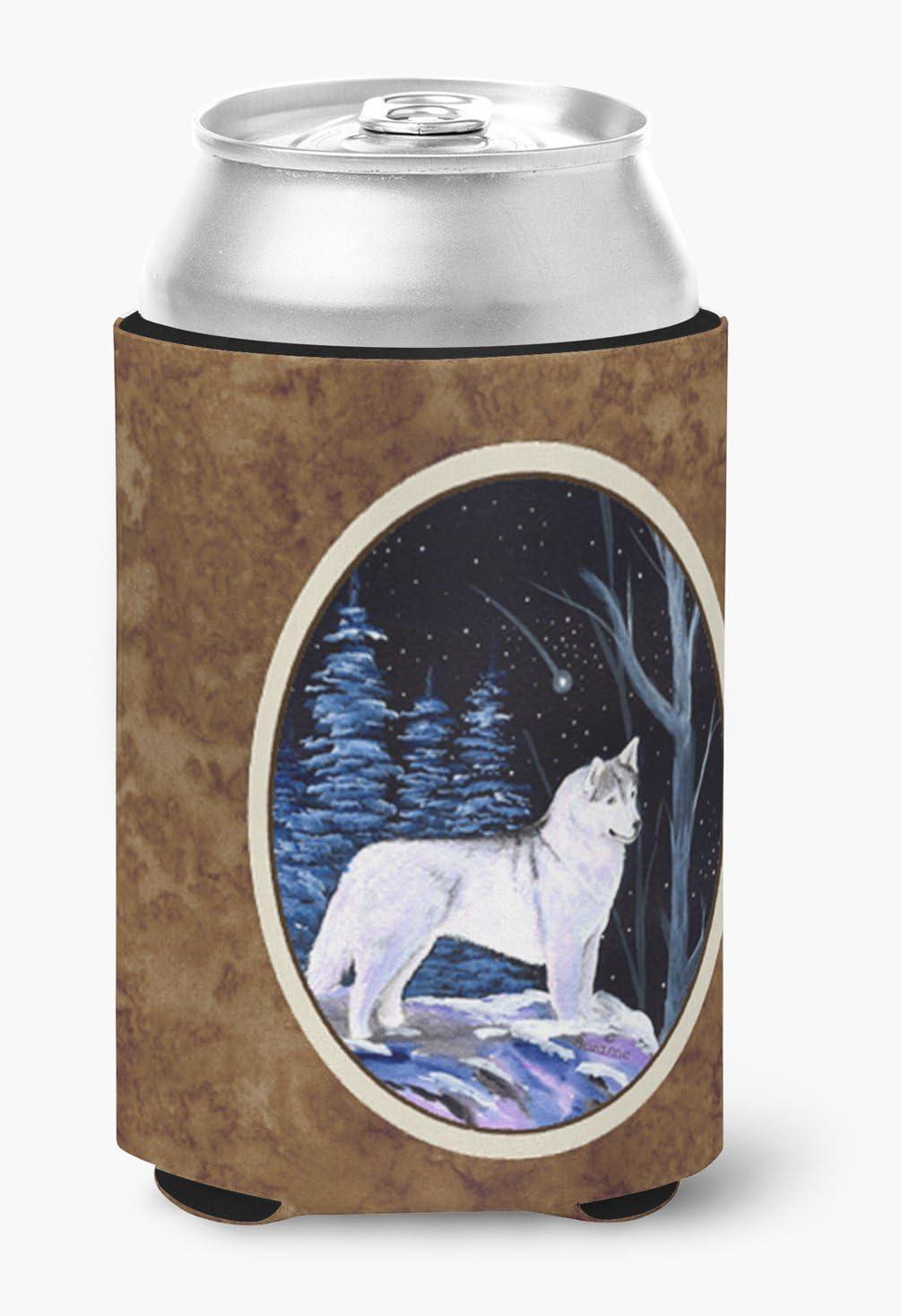 Caroline's Treasures SS8400CC Starry Night Siberian Husky Can or Bottle Beverage Insulator Hugger, Can Hugger, multicolor