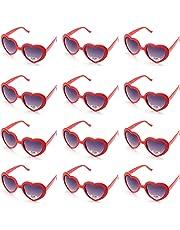 OAONNEA Lot de 12 Couleur Lunette de Fete Lunettes de Soleil Fluo Coeur pour Fille Enfant Adulte Femme (12rouge)