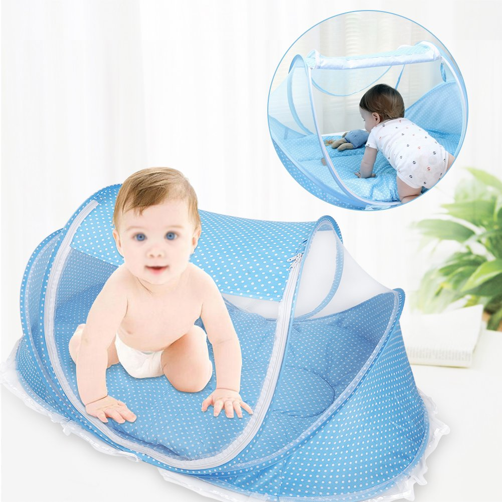 Yosoo Foldable Baby Infant Pop-up Crib Cradle Anti-Bug Tent Mosquito Net with Mattress Pillow Portable Nursery Bed Crib Canopy Travel Beach Park Play Shades, Blue by Yosoo (Image #7)