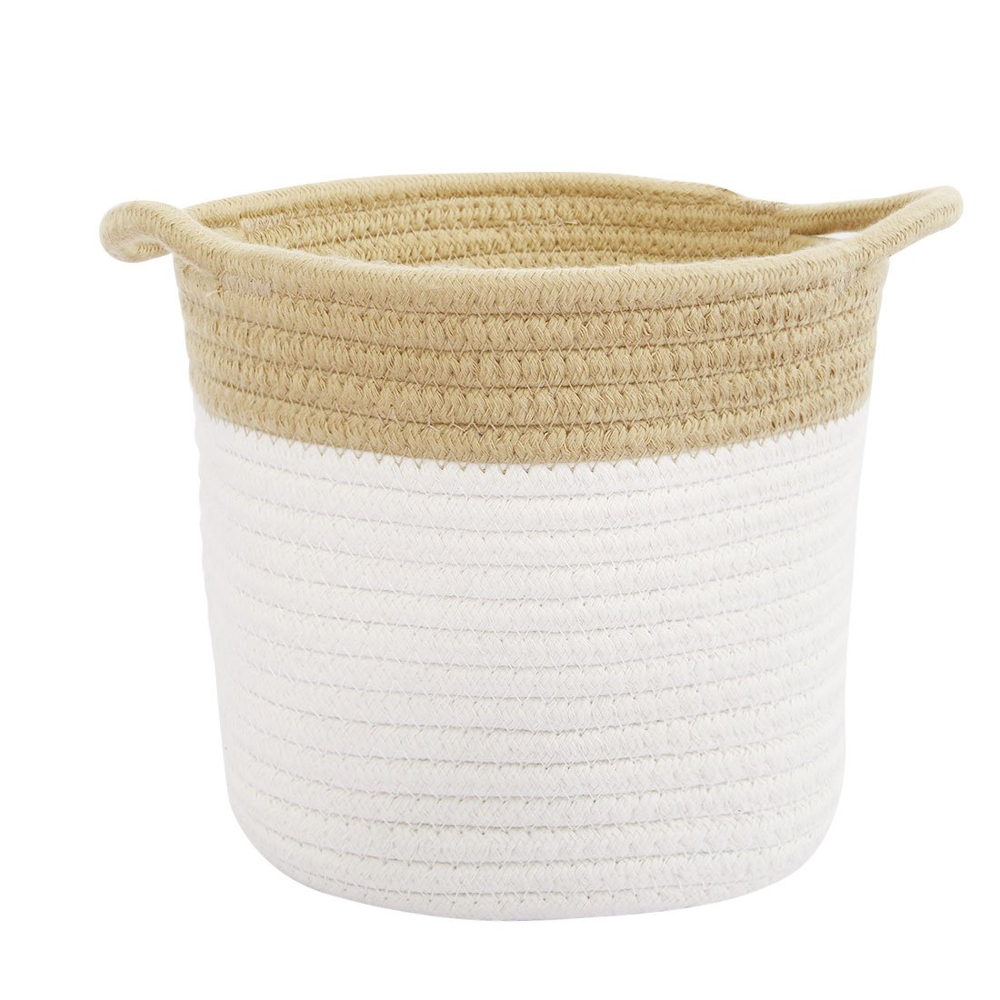 uxcell Collapsible Home Accessories Cotton Rope Storage Basket with Handles, 6.3 x 7,Woven Baskets for Laundry Towel, Toy Storage Bin for Office Bedroom Closet (Khaki,Cylindrical 1) 6.3 x 7 a17051900ux0659