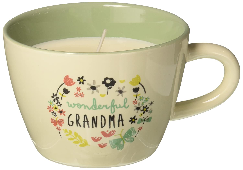 Pavilion Teal Ceramic Floral Teacup Candle Pavilion Gift Company 74091 Wonderful Grandma