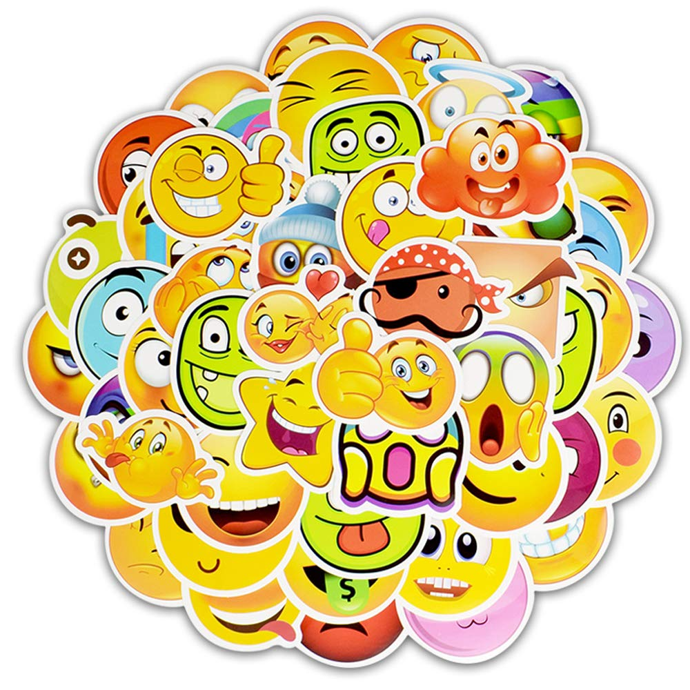 Amazon com 50pcs smile face waterproof vinyl emoji stickers personalize laptop car helmet skateboard luggage graffiti decals toys games